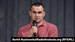 Oleh Sentsov talks to journalists in Kyiv on September 10.