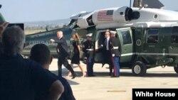 Президент США Дональд Трамп c супругой Меланией прибыл на военно-морскую базу Сигонелла на Сицилии.