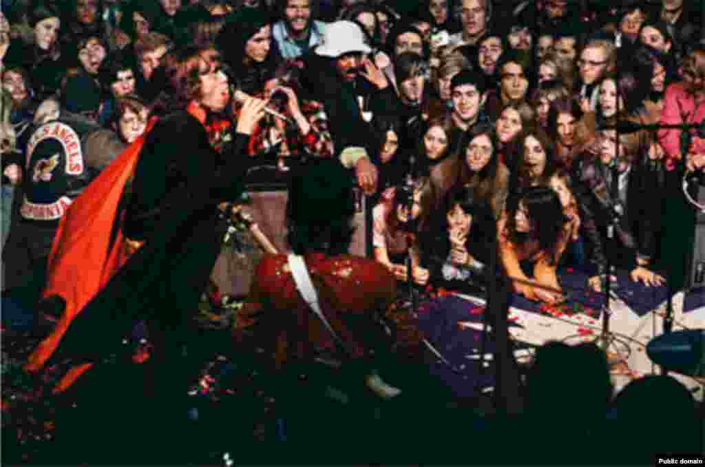 The Stones' infamous concert at Altamont Speedway in 1969 was marred by violence, including the stabbing death of one concertgoer by a member of the Hell's Angels.