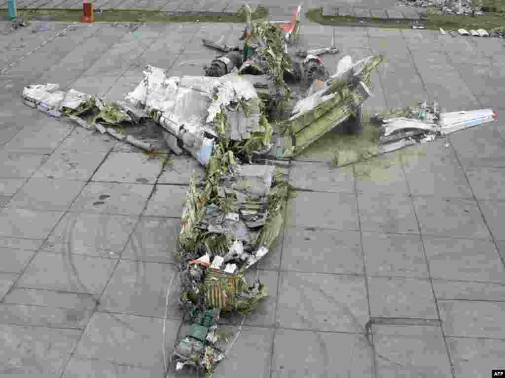 Расея: рэшткі польскага прэзыдэнцкага самалёта ТУ-154.