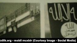 """Ташкенттегі көпірге ілінген """"Ислам мемлекеті"""" ұйымынң туы."""