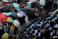Акція протесту під час Революції парасольок. Гонконг, 28 вересня 2014 року