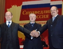 Motherland head Aleksandr Babakov, Party of Life head Mironov, and Party of Pensioners head Igor Zotov on October 29 (ITAR-TASS)