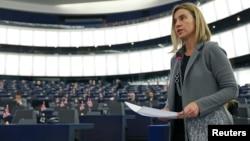 Федерика Могерини в Европарламенте 10 февраля