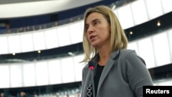 ЕО сыртқы саясат жөніндегі комиссары Федерика Могерини Еуропарламентте сөйлеп тұр. Страсбург, 10 ақпан 2015 жыл.