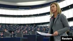 Глава представительства ЕС по вопросам внешней политики Федерика Могерини в Европарламенте. Брюссель, 10 февраля 2015 года.