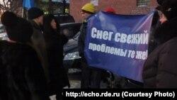 Пикет из-за ж/д переезда в Томске
