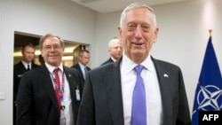 U.S. Secretary for Defense Jim Mattis arrives prior to a meeting of NATO defense ministers in Brussels on June 29.