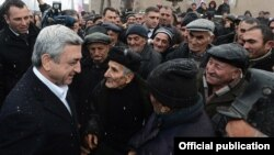 Armenia - President Serzh Sarkisian campaigns for reelection in Tavush province, 29Jan2013.