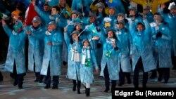 Қазақстан делегациясы Пхенчхан олимпиадасының жабылу салтанатында. 25 ақпан 2018 жыл.