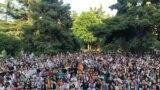 Studenti au reluat protestul vineri, 21 iunie 2019, lângă Universitatea din Tbilisi