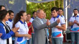 "Оьрсийчоь -- Путин Владимир ву ""Машук"" форуман декъашхошна юкъахь."