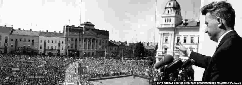By the 1960s, communist politician Nicolae Ceausescu (pictured during a speech in Arad) ruled the country.