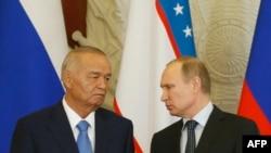 Президент Узбекистана Ислам Каримов (слева) и президент России Владимир Путин, Москва, 26 апреля 2016 года.