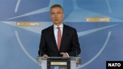 Белгија- Генералниот секретар на НАТО Јенс Столтенберг на прес конференција во седиштето на Алијансата, 27.03.2018