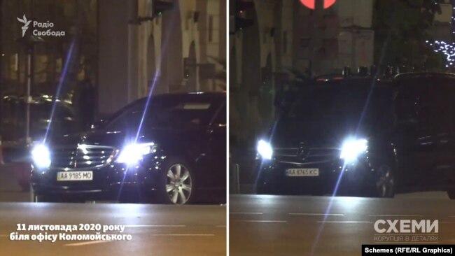 Mercedes за 2,5 години виїхав з підземного паркінгу офісу Коломойського, але вже з іншими номеарми – за ним попрямувало авто супроводу Фукса