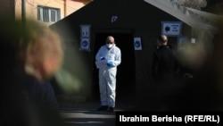 Pamje nga një qendër testimi për koronavirus në Kosovë.