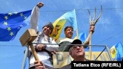 La Chișinău a continuat protestul antiguvernamental organizat de Platforma DA