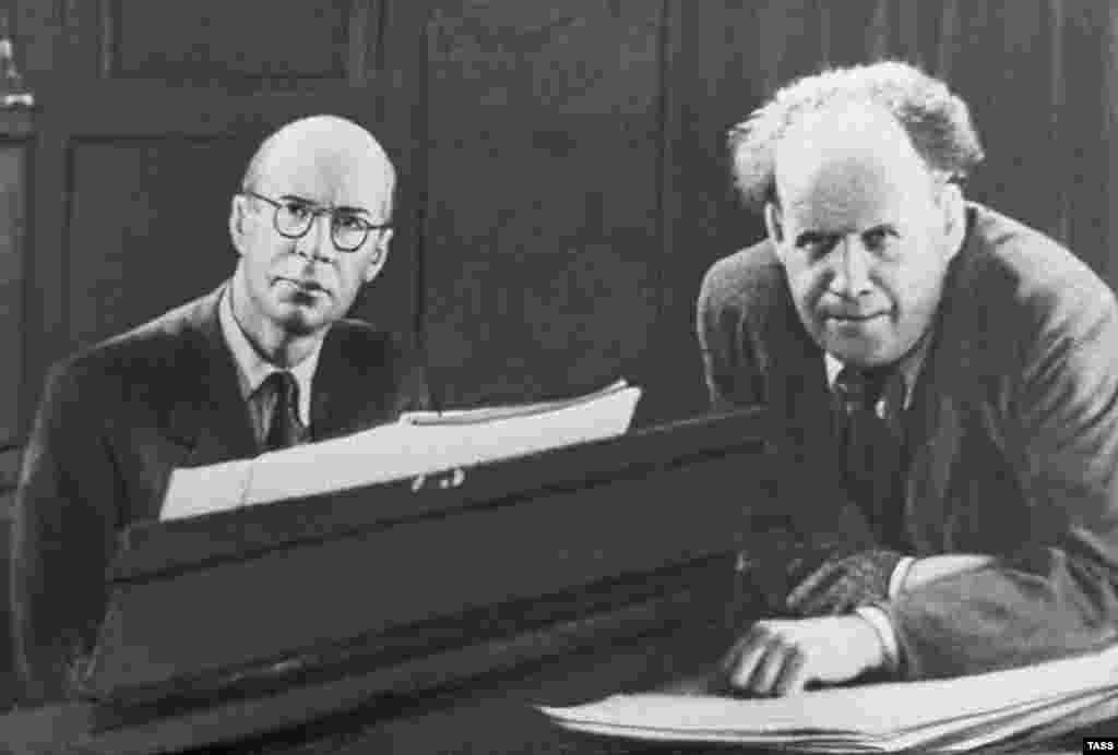 "Prokofiev (left) with film director Sergei Eisenstein in 1943. Prokofiev wrote the scores for Eisenstein's historical epics ""Aleksandr Nevsky"" and ""Ivan the Terrible."""