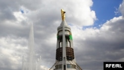 The Neutrality Arch capped with a gold statue of the late Saparmurat Niyazov in Ashgabat