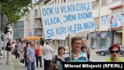 Jedan od protesta radnika u BiH - Banjaluka, ilustrativna fotografija
