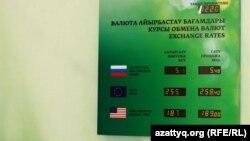 Табло с курсами покупки и продажи валюты в одном из банковских обменных пунктов. Алматы, 10 февраля 2014 года.