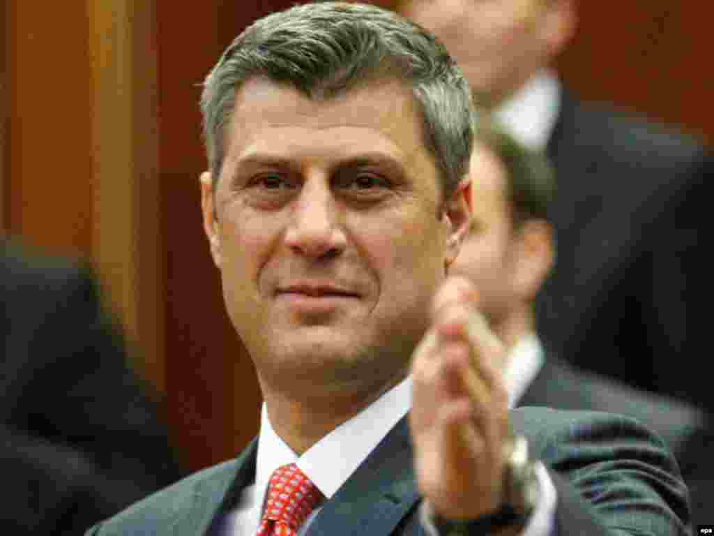 "Kosovo's Prime Minister Hashim Thaci declared independence in the parliament in the capital, Pristina. Reading the declaration, he said the new Kosovo will be ""dedicated to peace and stability."""