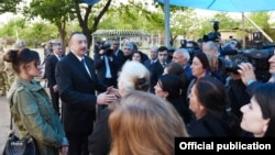 Azerbaijan - President Ilham Aliyev meets with residents of the Terter district.