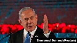 Израиль премьер-министрі Бенжамин Нетаньяху форумда сөйлеп тұр. Иерусалим, 23 қаңтар 2020 жыл.