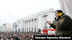 Mikheil Saakashvili tərəfdarları qarşısında çıxış edir, 5 dekabr, 2017-ci il