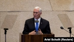 U.S. Vice President Mike Pence addresses the Knesset in Jerusalem on January 22.