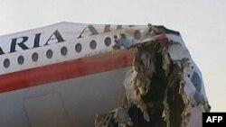 هواپیمای ایلوشین۶۲ که روز جمعه در مشهد هنگام فرود دچار سانحه شد.