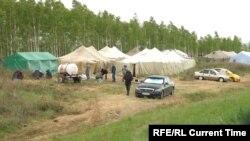 Палаточный лагерь для мигрантов в Бузулукском районе Оренбургской области.