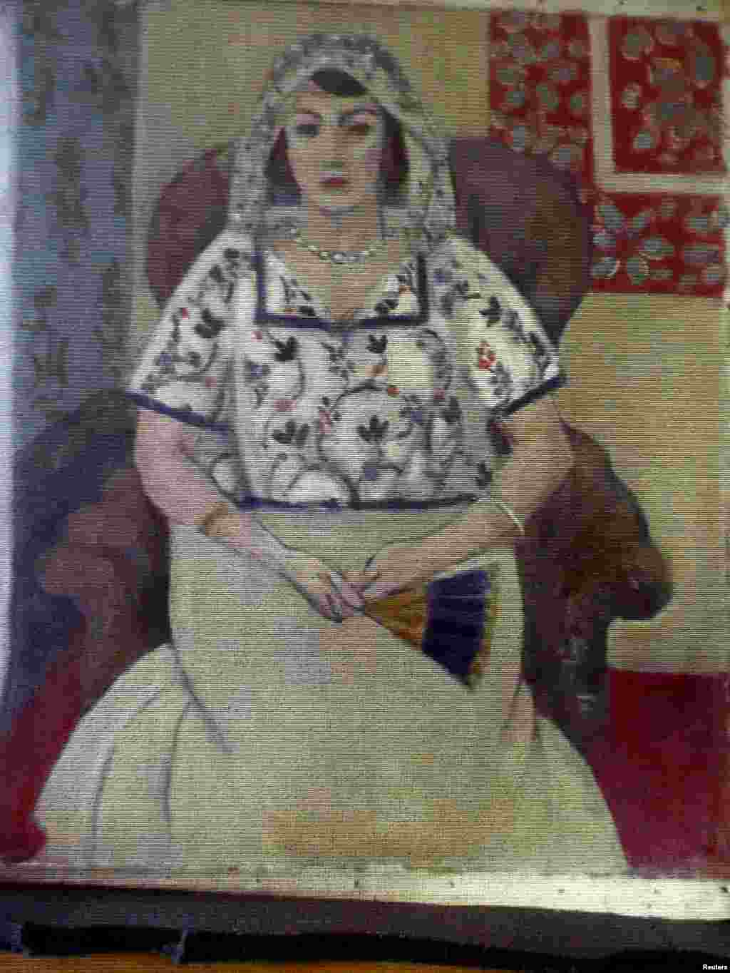 """Sitting Woman,"" a painting believed to be by French artist Henri Matisse. Historians say the painting does not appear in catalogs of the artist's known work."