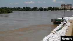Floodwaters rising on the Sava River to the west of Belgrade on May 21