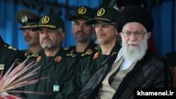 Iran's Supreme Leader Ali Khamenei attending the graduation ceremony of army cadets at the Imam Khomeini Naval Academy in Nowshahr on September 9, 2018.
