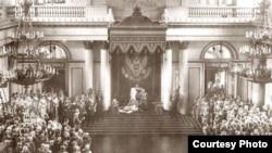 Торжественное открытие Государственной Думы и Государственного Совета. Зимний дворец. Снимок 27 апреля 1906 года.