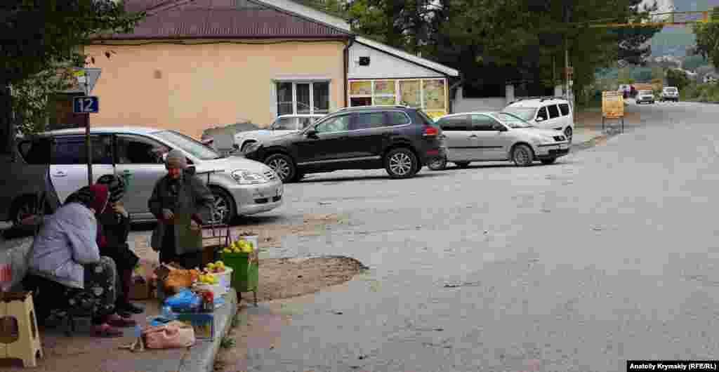 Місцеві пенсіонери продають яблука та волоські горіхи біля автодороги
