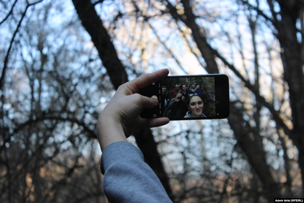 Selfie within a selfie in the village of Krushevo. (Photo by Admir Idrizi)