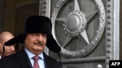 Marshal Khalifa Haftar, chief of the so-called Libyan National Army, leaves the main building of the Russian Foreign Ministry after a meeting with Foreign Minister Sergei Lavrov in Moscow in November.