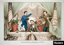 Лубок, изображающий убийство Авраама Линкольна 14 апреля 1865 года