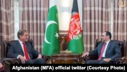صلاحالدین ربانی وزیر خارجه افغانستان (راست) در جریان صحبت با همتای پاکستانیاش در کابل