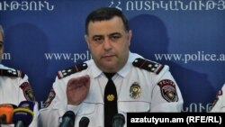 Armenia -- Hovannes Kocharian, deputy chief of the Amenian police, at a news conference in Yerevan.