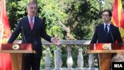 Мило Ѓукановиќ и Стево Пендаровски во Претседателската вила на Водно во Скопје