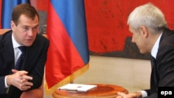 Serbian President Boris Tadic (right) talks with his Russian counterpart, Dmitry Medvedev, in Belgrade.
