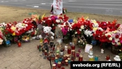 A memorial in Minsk where Alyaksandr Taraykouski died