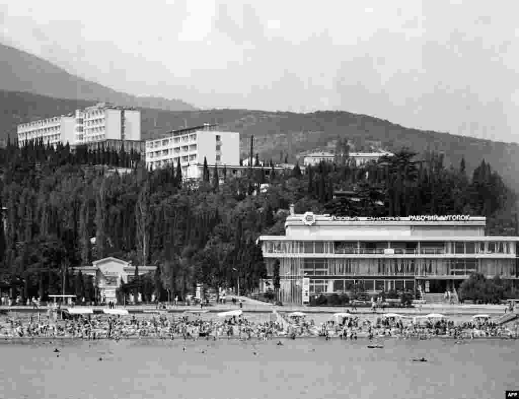 "Crimea was also a key destination for well-placed Soviet citizens, who competed at work and school for highly prized ""kurorty,"" or spa trips, at resorts like the Rabochy Ugolok (Workers' Corner) in Alushta."