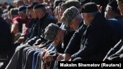 Участники митинга против соглашения об обмене территориями с Чечней в ингушском Магасе. 8 октября 2018 года.