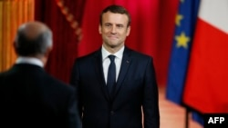 French President Emmanuel Macron is shown at his formal inauguration ceremony in Paris on May 14