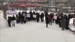 Пикет работников транспортного предприятия в Усть-Илимске